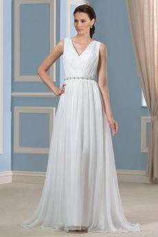 Robe de mariée Simple a ligne Pomme Chiffon Plage Ample & Ornée