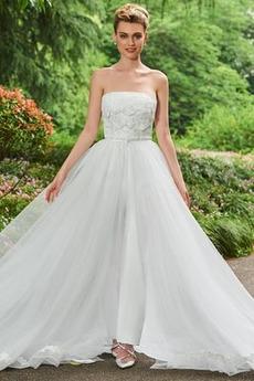 Robe de mariée Dos nu Luxueux Printemps Traîne Mi-longue A-ligne