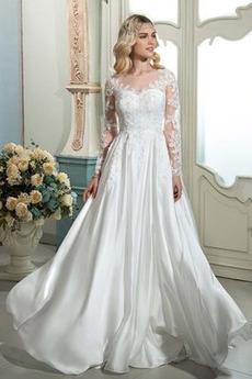 Robe de mariée a ligne De plein air Automne Manquant Moderne Naturel taille