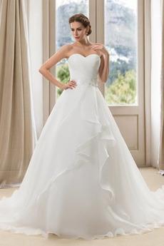 Robe de mariée Asymétrique Salle Col en Cœur Satin Décolleté Dans le Dos