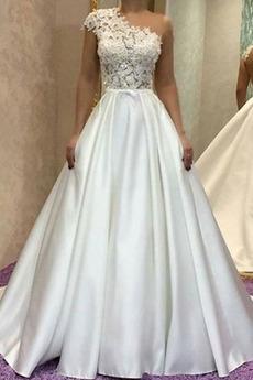 Robe de mariée Formelle Une épaule a ligne Naturel taille Gazer
