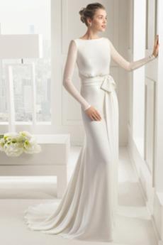 Robe de mariée Fourreau Manche Longue Norme De plein air Naturel taille