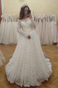 Robe de mariée Manche Longue Lacet Naturel taille A-ligne Cérémonial