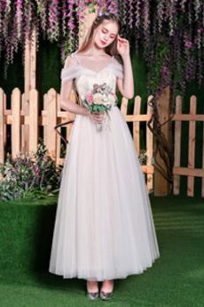 Robe de mariée Plage Épaule Dégagée A-ligne Appliques Manquant