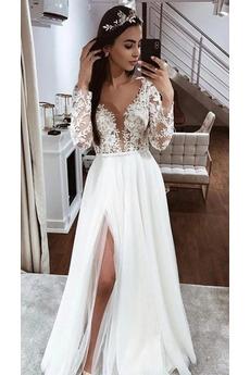 Robe de mariée Thigh-High Slit Elégant Manche Aérienne Couvert de Dentelle