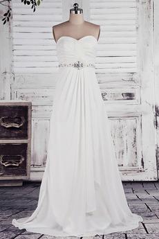 Robe de mariée taille haut Col en Cœur Cristal noble Sans Manches