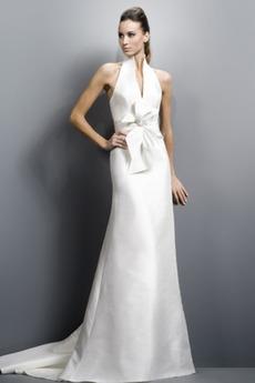 Robe de mariée Sans Manches Licou Zip Satin Élastique Rectangulaire