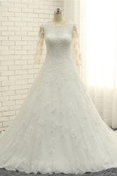 Robe de mariée Manche Longue Épaule Dégagée Corsage Avec Bijoux