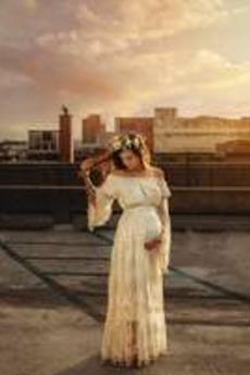 Robe de mariée Longueur ras du Sol Maternité Manche Lâche Appliques