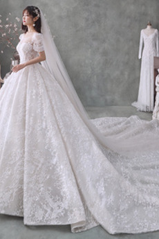 Robe de mariée Perle Manche de T-shirt Salle Naturel taille Col U Profond