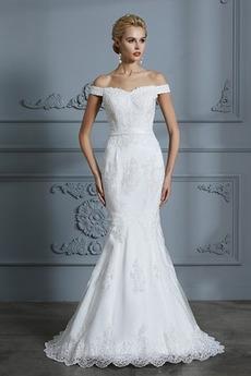Robe de mariée Sirène Manche Courte Longue Mince Épaule Dégagée