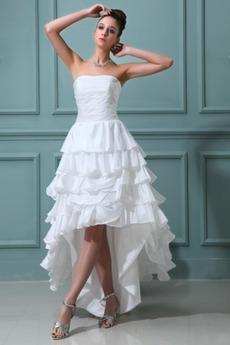 Robe de mariée Bustier Multi Couche Taffetas Asymétrique Avec Jacket