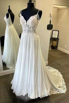 Robe de mariée Chiffon Automne Sans Manches vogue De plein air Naturel taille