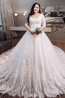 Robe de mariée Satin Plus la taille Froid Longue aligne Eglise