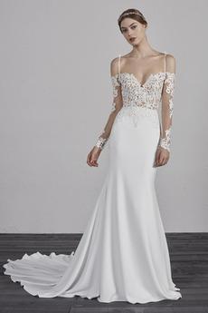 Robe de mariée Simple Bouton Décolleté Dans le Dos Manche Longue Serré
