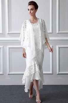 Robe Mère de Mariée Col U Profond Zip Asymétrique 2 Pièces Asymétrique