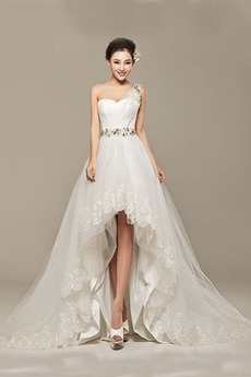 Robe de mariée Asymétrique Sans Manches Naturel taille Traîne Courte