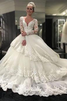 Robe de mariée Manche Longue Traîne Moyenne Col en V Manche de T-shirt