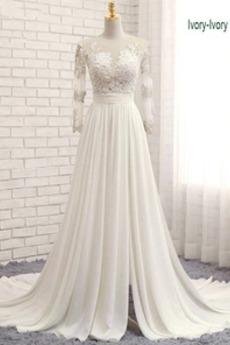 Robe de mariée Gaze Luxueux Col ras du Cou Couvert de Dentelle
