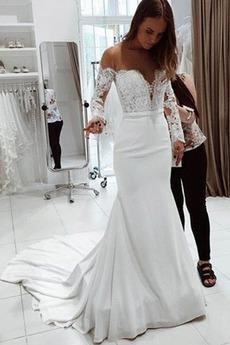 Robe de mariée Sirène Médium Appliques De plein air Manche Longue