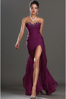 Robe de Bal Bustier Glamour Thigh-High Slit Petites Tailles Sirène