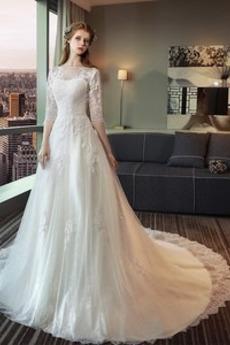 Robe de mariée Manquant Couvert de Dentelle Plage Longue Été 3/4 Manche