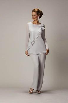 Robe de mère pantalon de costume Epurée Manche Longue Chiffon