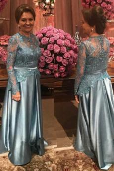 Robe Mère de Mariée aligne Perle Fermeture éclair Manche Aérienne Corsage Avec Bijoux