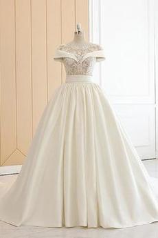 Robe de mariée Sexy Col Bateau Naturel taille A-ligne Lacet Printemps