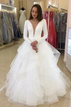 Robe de mariée Manche Longue Norme Naturel taille Col en V Tulle Chapelle