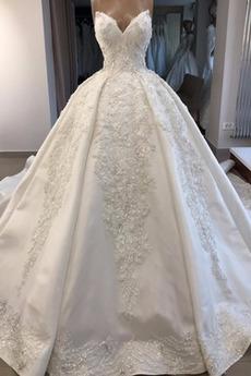 Robe de mariée Couvert de Dentelle Au Drapée Chaussez A-ligne Naturel taille