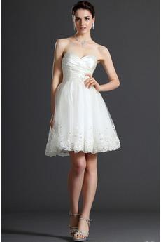 Robe de mariée Sans Manches Milieu Blanche Naturel taille Corsage plissé