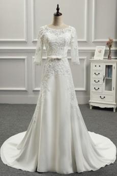 Robe de mariée Appliquer Couvert de Dentelle Longue Naturel taille