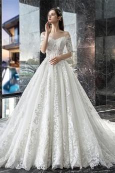 Robe de mariée Appliques Manche Courte Col en V Lacet noble Automne