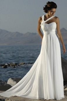 Robe de mariée Empire Chiffon Plage Fourreau plissé Exquisite