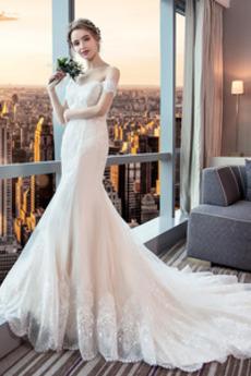 Robe de mariée Sirène Elégant Mancheron Longue Manquant Tissu Dentelle