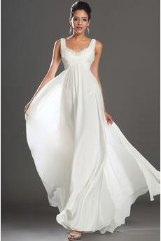 Robe de Soirée Perlé Col U Profond Milieu dos Longueur Cheville