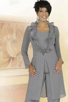Robe de mère pantalon de costume Grandes Tailles Col Carré Chiffon