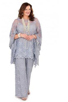 Robe de mère pantalon de costume Grandes Tailles Appliques Longueur ras du Sol