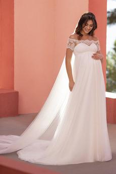 Robe de mariée Empire Gazer Grossesse Mancheron Longueur ras du Sol