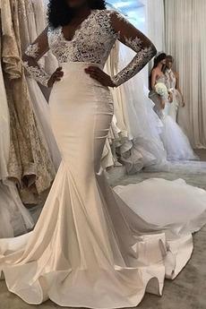 Robe de mariée Manche Longue Manche Aérienne Naturel taille Appliques