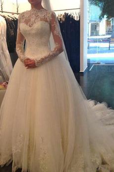 Robe de mariée Manche Longue Formelle Manche Aérienne Avec voile