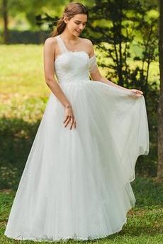 Robe de mariée aligne Ruché vogue Épaule Asymétrique Automne Longueur au sol