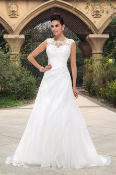 Robe de mariée Hiver Mousseline de soie a ligne Sans Manches Rectangulaire