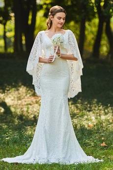Robe de mariée Dentelle Modeste Sans Manches De plein air élancé