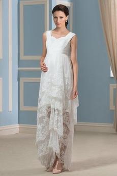 Robe de mariée Asymétrique Sans Manches Elégant Couvert de Dentelle