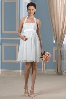 Robe de mariée Simple Longueur Genou Ample & Ornée Plus la taille
