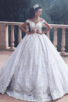 Robe de mariée Broderie Norme Col en V Foncé Zip Naturel taille