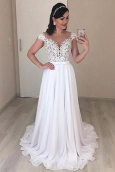 Robe de mariée A-ligne Naturel taille Appliques Dos nu Sexy Jardin
