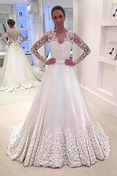 Robe de mariée Satin Gazer aligne Col en V Foncé De plein air